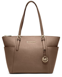 Michael Kors Michl Kors Jet Set Top Zip Saffiano Tote Bag Dark Dune