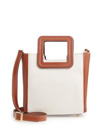 Staud Mini Shirley Leather Canvas Satchel