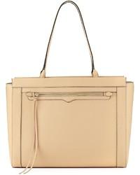 Rebecca Minkoff Monroe Saffiano Tote Bag Medium Beige