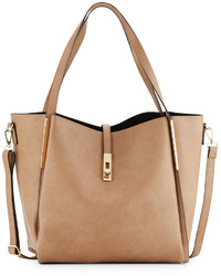 Neiman Marcus Abigail Faux Leather Tote Bag Taupe