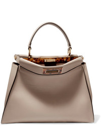 Fendi Peekaboo Medium Leather Tote Beige