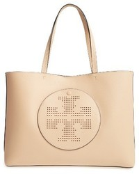Tory Burch Perforated Logo Leather Tote Black