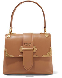 Prada Cahier Large Leather Tote Tan