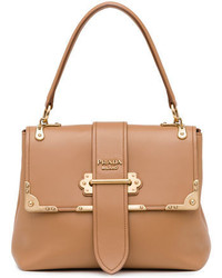Prada Medium Half Flap Tote Bag Medium Camel
