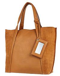 River Island Tan Leather Croc Panel Tote Handbag