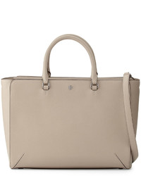 Tory Burch Robinson Large Zip Top Tote Bag French Gray