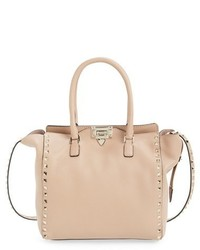Valentino Rockstud Double Handle Leather Tote Beige