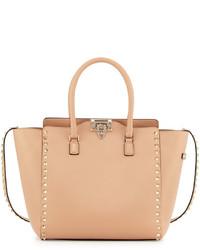 Valentino Rockstud Leather Pagoda Shopper Bag Dark Beige