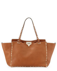 Valentino Garavani Rockstud Medium Pebbled Tote Bag Tan