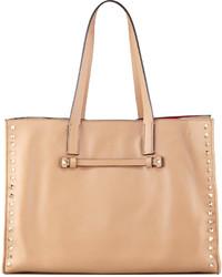 Valentino Rockstud Shopping Tote Bag Tan