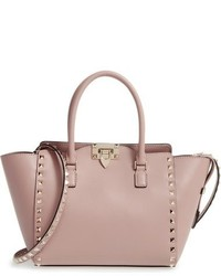 Valentino Rockstud Small Double Handle Leather Tote Black