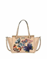 Valentino Garavani Rockstud Small Embroidered Tote Bag Camel