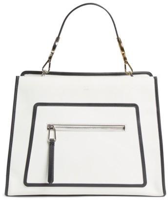 Fendi Runaway Medium Leather Tote Bag White