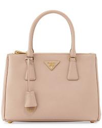 Prada Saffiano Lux Small Double Zip Tote Bag Blush