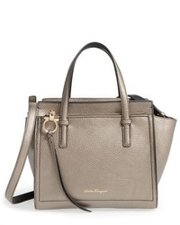 Salvatore Ferragamo Mini Amy Metallic Calfskin Leather Tote Metallic