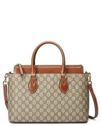 Gucci Small Top Handle Gg Supreme Canvas Leather Tote Beige