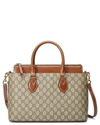Gucci Small Top Handle Gg Supreme Canvas Leather Tote