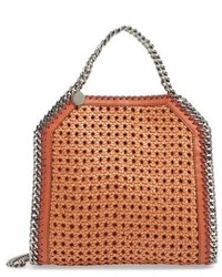 Stella McCartney Mini Falabella Woven Faux Leather Tote Brown