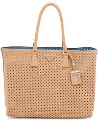 Prada Suede Perforated Tote Bag Tan
