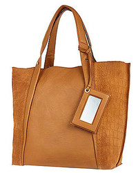River Island Tan Leather Croc Panel Tote Handbag