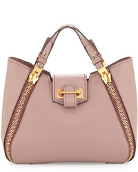 Tom Ford Sedgwick Mini Double Zip Leather Tote Bag Blush Nude