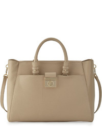 Versace Collection Leather East West Tote Bag Sabbia