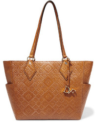 Diane von Furstenberg Voyage Bff Basketweave Leather Tote Tan