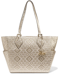 Diane von Furstenberg Voyage Bff Metallic Basketweave Leather Tote Gold