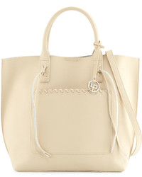 Linea Pelle Whipstitch Trim Faux Leather Tote Bag Bone