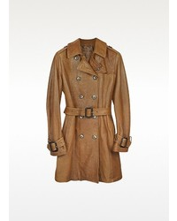 Brown leather belted trench coat medium 115581