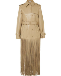 Valentino Double Breasted Fringed Leather Trench Coat
