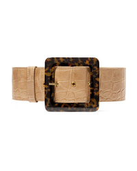 Staud Croc Effect Leather Waist Belt