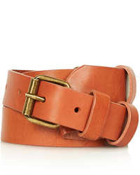 Topshop Tan Leather Waist Belt With Double Buckle Detail 100% Leather