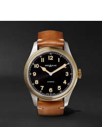 Montblanc 1858 Automatic 44mm Stainless Steel And Leather Watch Ref No 116241