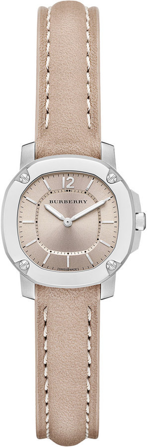 Burberry 26mm Octagonal Stainless Steel Watch With Tan Leather Strap