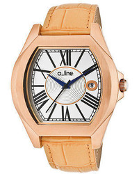 A Line A Line 80008 Rg 02 Tan Adore Tan Genuine Leather Silver Tone Dial