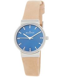 Skagen Ancher Leather Strap Watch