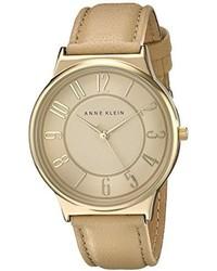 Anne Klein Ak1928tntn Easy To Read Dial Watch With Tan Leather Strap