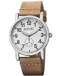 August Steiner As8110tn Swiss Quartz Silver Tone Tan Leather Strap Watch