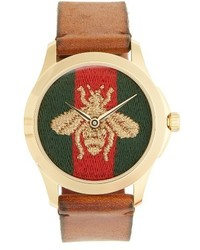 Gucci Bee Insignia Leather Strap Watch 43mm