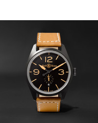 Bell & Ross Br 123 Heritage Automatic 41mm Pvd Coated Steel And Leather Watch