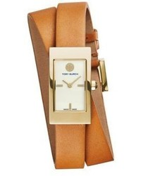 Tory Burch Buddy Signature Goldtone Stainless Steel Leather Double Wrap Strap Watchbrown