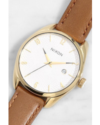 Nixon Bullet Gold And Tan Leather Watch