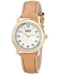 Burgi Bur121tn Gold Tone Watch With Genuine Leather Strap
