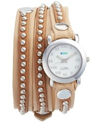 La Mer Collections Bali Stud Leather Wrap Strap Watch 254mm