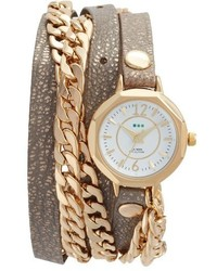 La Mer Collections Leather Chain Wrap Watch 35mm