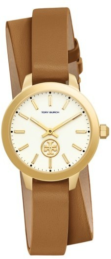 Tory Burch Collins Double Wrap Leather Strap Watch 32mm