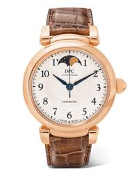 IWC SCHAFFHAUSEN Da Vinci Automatic Moon Phase 36mm 18 Karat Red Gold And Alligator Watch