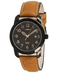 Timex Elevated Classics Black Dial Tan Leather Strap Watch Watches