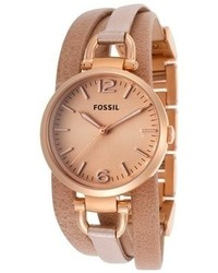 Fossil Georgia Tan Genuine Leather And Rose Tone Band Peach Dial
